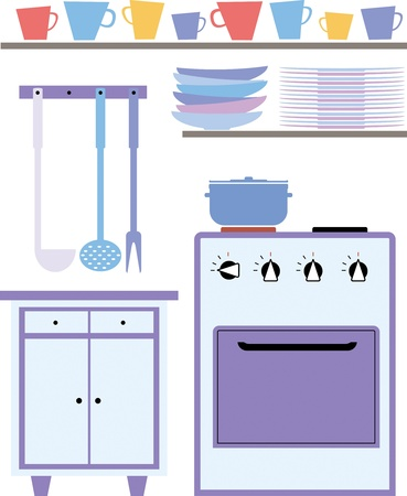 saucepan: kitchen interior with shelves for dishes