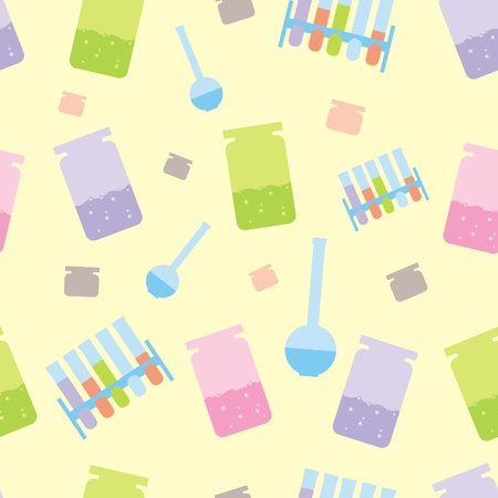 seamless background with objects of chemistry Vector