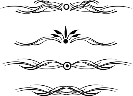 black dividing line with curls Vector