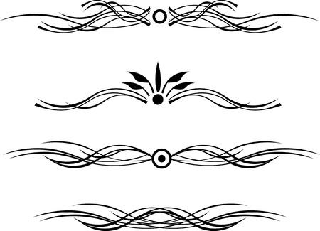 Nera linea di demarcazione con i riccioli Archivio Fotografico - 11529386