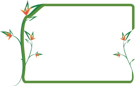 Green floral frame with orange flowers