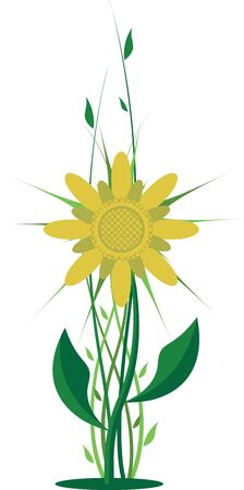 yellow flower with green shoots