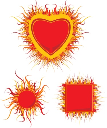 set of frames with red flames Vector