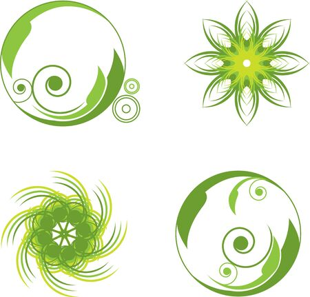 reen abstract symbols round with curls