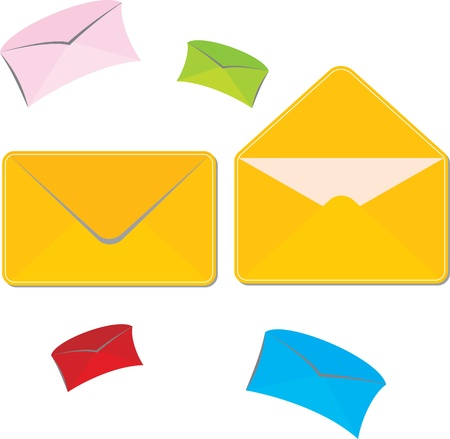 set of colored large and small mailing envelopes