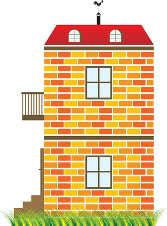 shingles: two-story house on the green grass Illustration