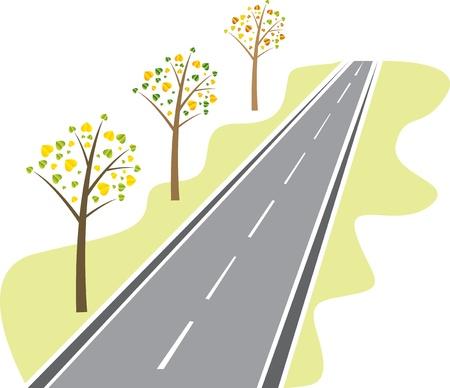carretera: �rboles con las hojas de la carretera de asfalto