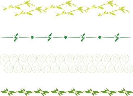 set of dividing lines with floral scrolls and leaves Vector