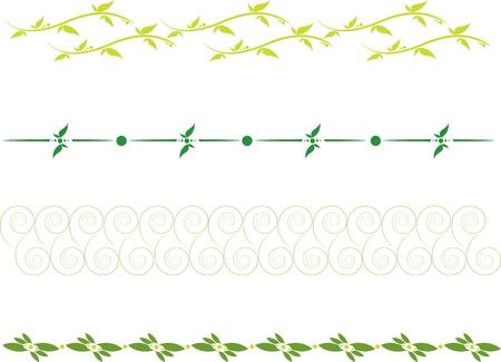 scheidingslijnen: set van scheidslijnen met bloemen rollen en bladeren Stock Illustratie