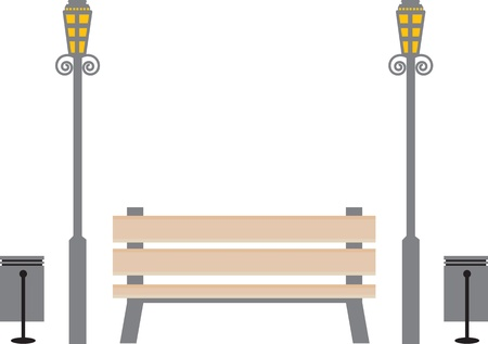 bench in the park with lights and urns Illustration
