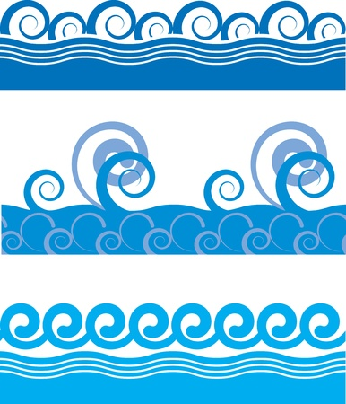 set of seamless texture of sea waves Stock Vector - 12685513