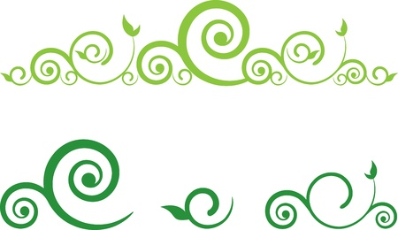 green floral border with swirls
