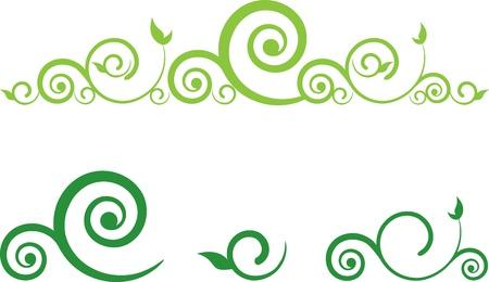 bordure floral: vert floral fronti�re avec des remous Illustration