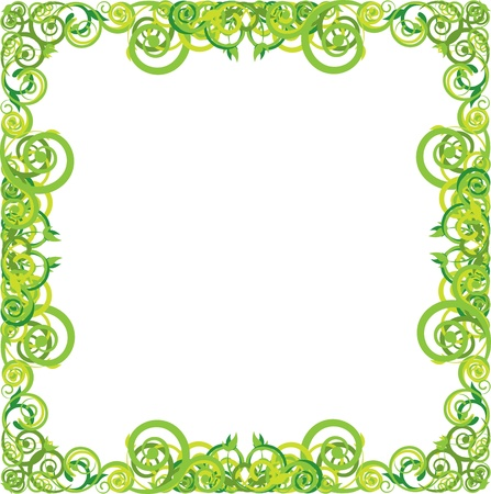 Green floral frame with swirls Vector