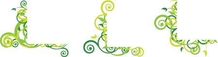 green floral corner with curls Vector