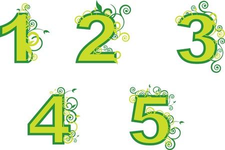 Ordinal: Ordnungszahlen von 1 bis 5 Illustration