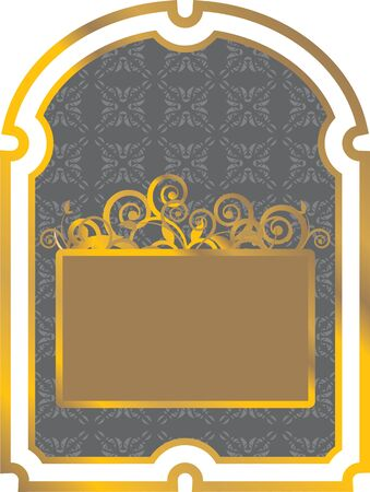 vintage black label with gold border Vector