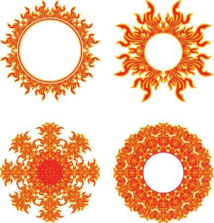 set of round fiery symbols of the sun