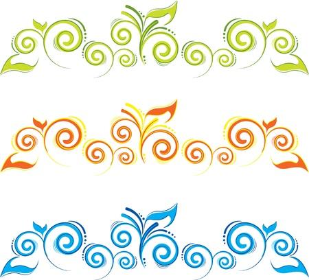 lineas decorativas: Conjunto de fronteras florales con remolinos