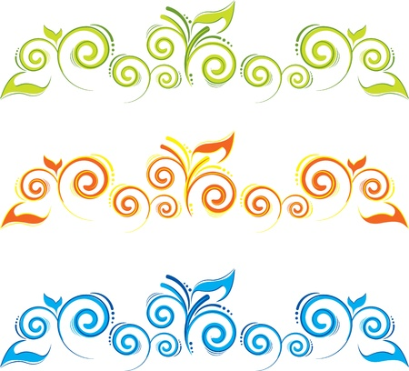 grass line: set of floral borders with swirls