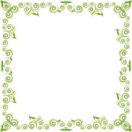 green floral background whith swirl and leaf
