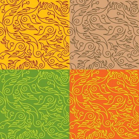set of seamless backgrounds with floral patterns