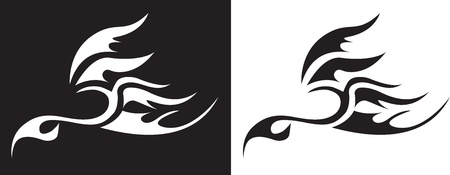 stylized image of a fiery bird graphics Vector