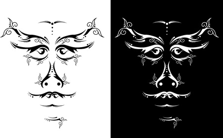 Black and white ethnic Mask in a graphic style Vector