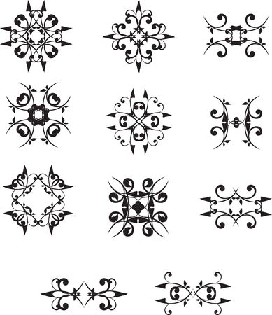 set of elements for the design of the floral stars Stock Vector - 14993618