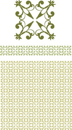 floral element and seamless border Stock Vector - 14988463
