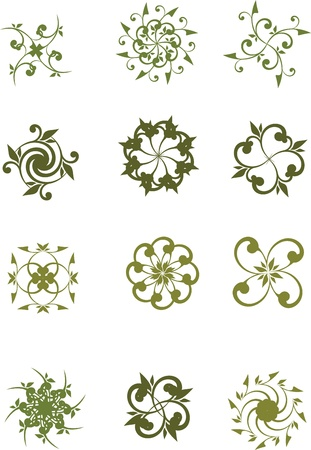 set of graphic floral symbols Vector
