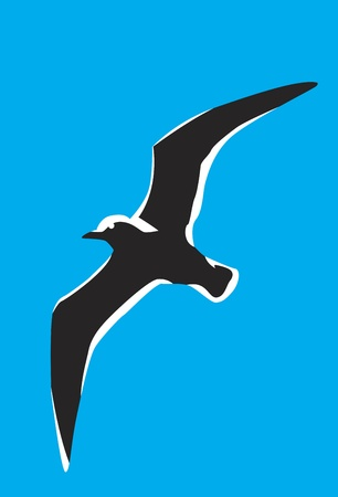black silhouette of a seagull in the sky Vector