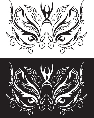 voodoo: ethnic mask with floral patterns Illustration