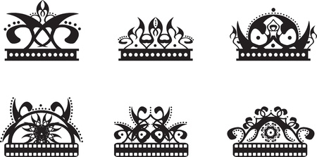 set of black graphic crowns Vector