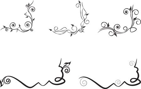 set of black floral corner Stock Vector - 15221327