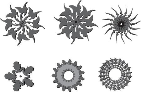 set of grey graphic symbols Vector