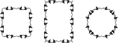 set of black floral frame Stock Vector - 16684415