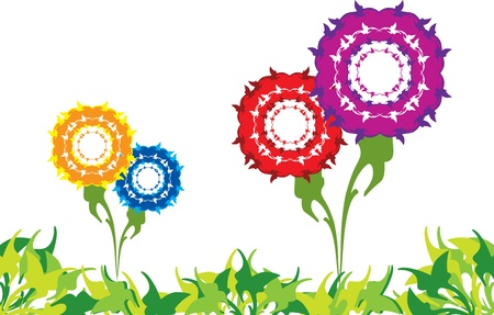 border with flowers and grass Stock Vector - 16699193