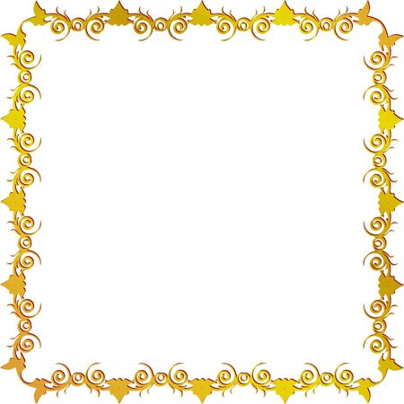 golden square frame with leaves Stock Vector - 16904869