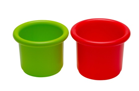 green and red buckets on white background Stock Photo - 17222435