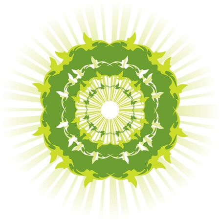 abstract green sun with rays Stock Vector - 17250230