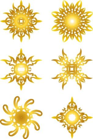 set of gold star symbol Çizim