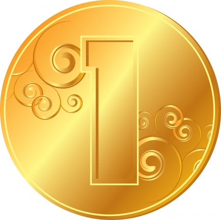Obverse of gold coins with a pattern Vector
