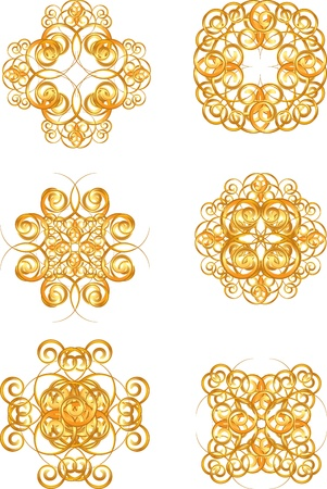 set of gold vintage symbols Vector