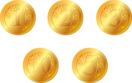set of gold coins with a face value Vector