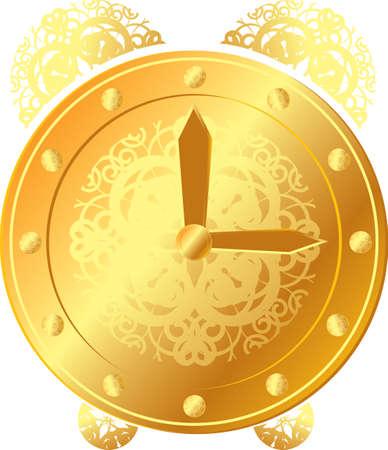 abstract golden clock with arrows Vector