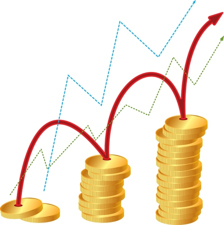 Gold coins and bar chart Stock Vector - 17793432