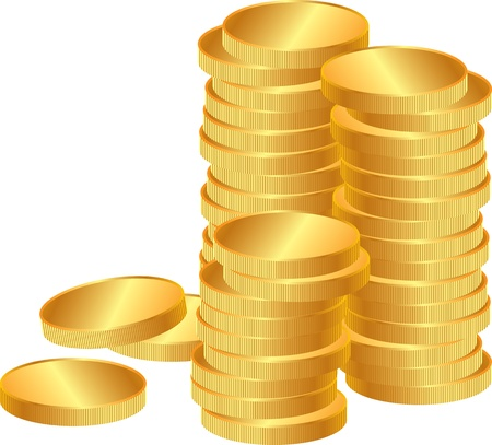 Stacks of shiny gold coins Ilustrace