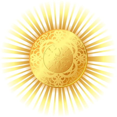 golden sun with bright rays Stock Vector - 17793429
