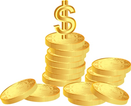 pile of coins and dollar sign Vector